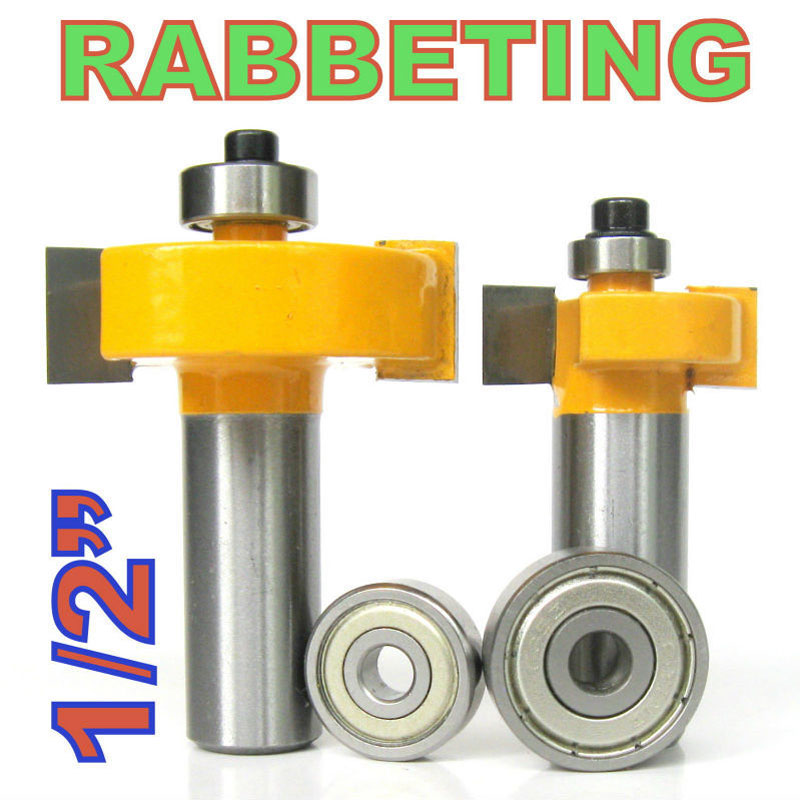 2 pc 1/2 SH 1/2, 3/8 Rabbeting & Slotting Router Bit w/2pc Bearings Set  wood cutter  woodworking bits wood milling cutter high grade carbide alloy 1 2 shank 2 1 4 dia bottom cleaning router bit woodworking milling cutter for mdf wood 55mm mayitr