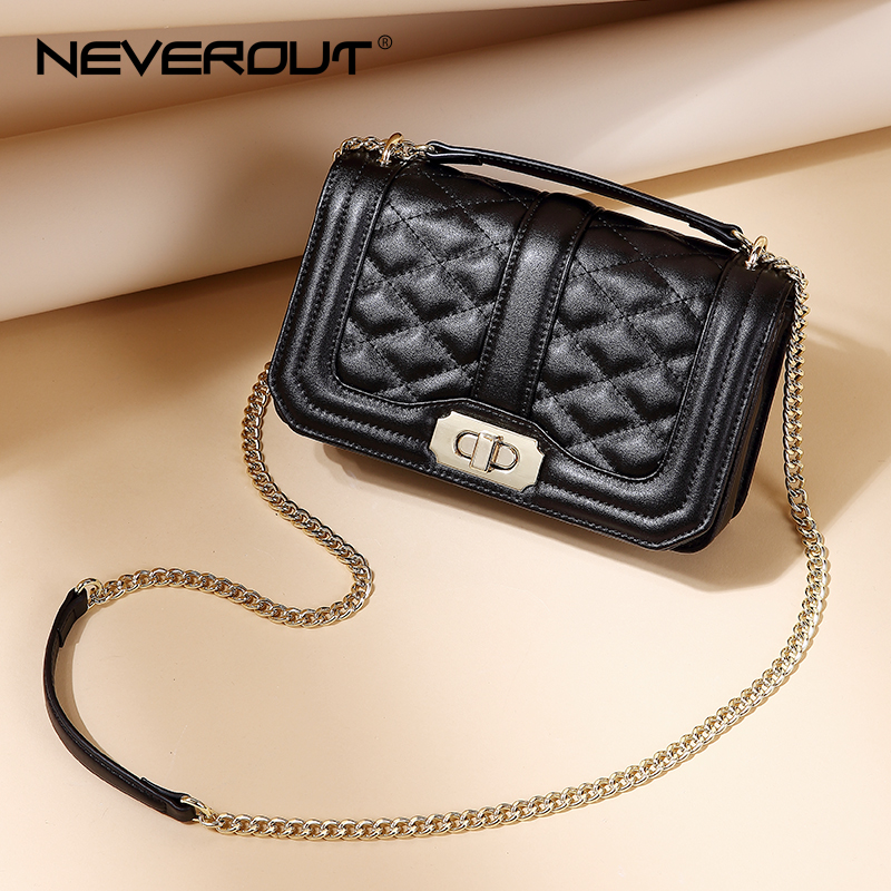 NEVEROUT Solid Leather Quilted Style Messenger Bags Women Small Flap Bag Handbags Shoulder Sac a Main Ladies Crossbody