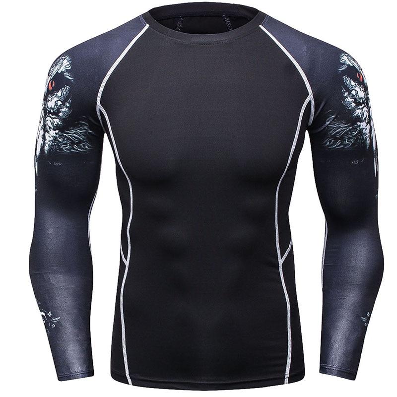 Nuevo 2017 Fitness Compression Shirt Hombres camiseta de manga larga - Ropa de hombre