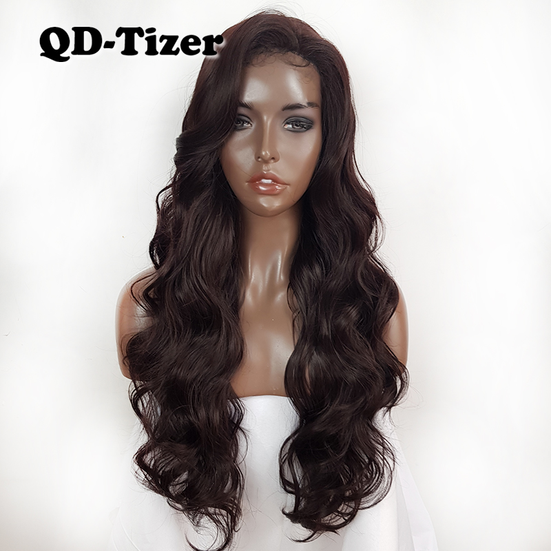 Long Brown Body Wave Synthetic Lace Front Wigs Glueless Heat Resistant Lace Hair 4 Color Synthetic