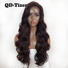 Pelucas frontales de encaje sintético para mujer, pelo largo de encaje sintético, sin pegamento, resistente al calor, Color marrón, #4
