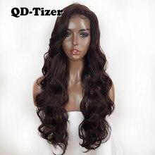 Perruque Lace Front wig synthétique ondulée longue brune, coiffure Lace Hair sans colle, résistante à la chaleur, couleur #4 pour femmes