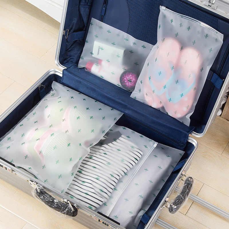 cactus Plastic Storage Bag for Travel Make Up Baggage Bag Waterproof Shoes Bag for Cloth Bag Zip Lock Storage Organizer Pouch