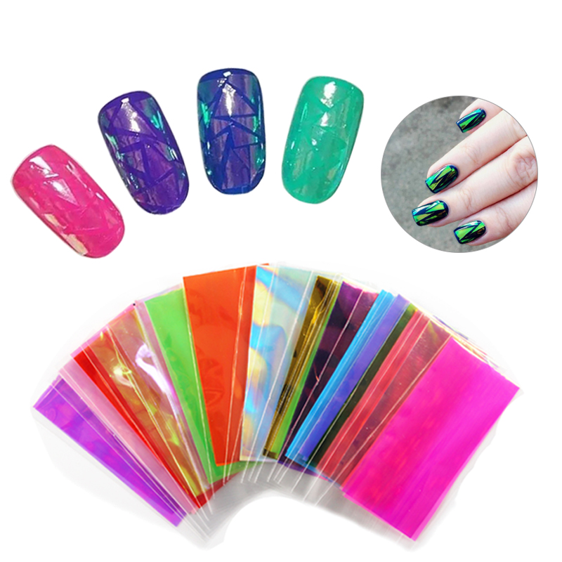 20pcs/lot Laser Nail Art Foils Decals Holographic Broken Glass Nail Sticker Shinny Nail Art DIY Tip Decorations Manicure WY618 holographic nail foils all kinds snowflakes pattern diy nail art transfer decals manicure tools gl615