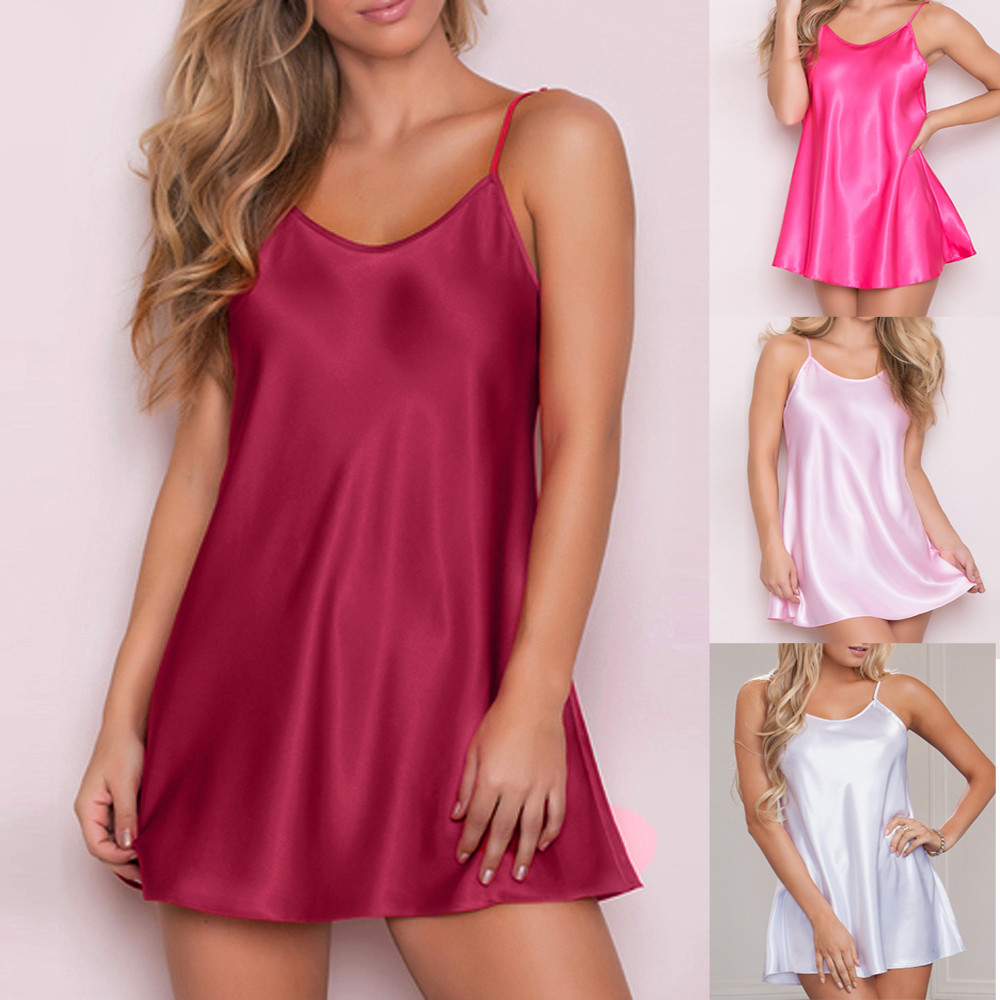 2018 New Fashion Womens Sexy Night Dress No sleeves solid Plus Size Lingerie Babydoll Nightwear Sleep skirt 9.4(China)