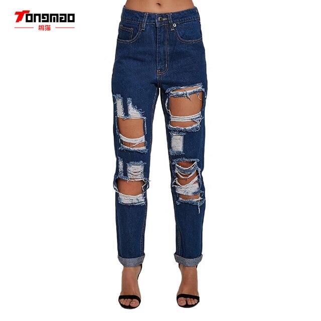 2017 Nuevas mujeres Jeans Agujero Grande Sexy Mediados de Cintura de Moda Casual Salvaje Cremallera Para hacer los Viejos Pantalones Vaqueros Rectos