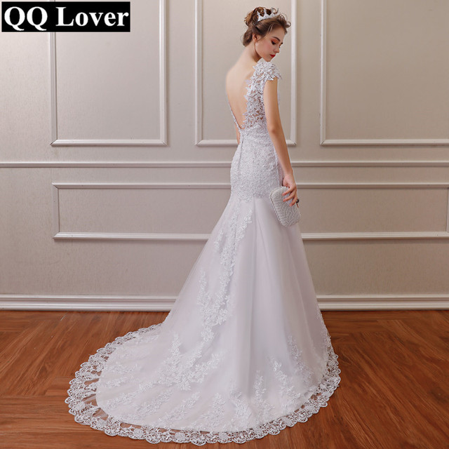 White Backless Lace Mermaid Wedding Dresses V-Neck Short Sleeve Wedding Gown Bride Dress Robe de mariage
