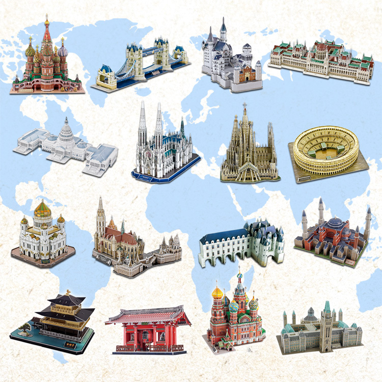 hot selling 3d difficult architecture Jigsaw puzzle model  paper diy learning&educational popular toys for boys & child &
