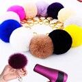 1 UNIDS 16 colores 2016 Nuevo estilo Beige Pompones Llavero Baratija Llaveros Llavero de Piel Suaves Llaveros Llaveros Para Los Coches baratijas
