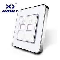 Jiubei Manufacture White Crystal Glass Panel Without Plug Adapter 2 Gangs Wall Tel And Com Socket