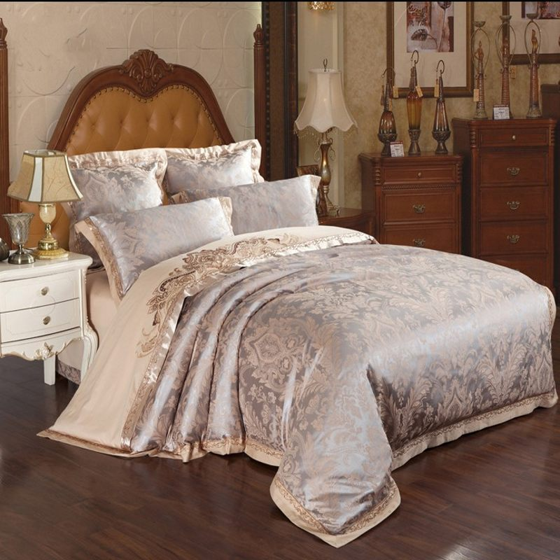 4 6pcs Brown Jacquard Satin Bedding Bedclothes Set King Embroidery Duvet Cover Queen Silk Cotton Bed Sheet Linen Home Textile In Sets From