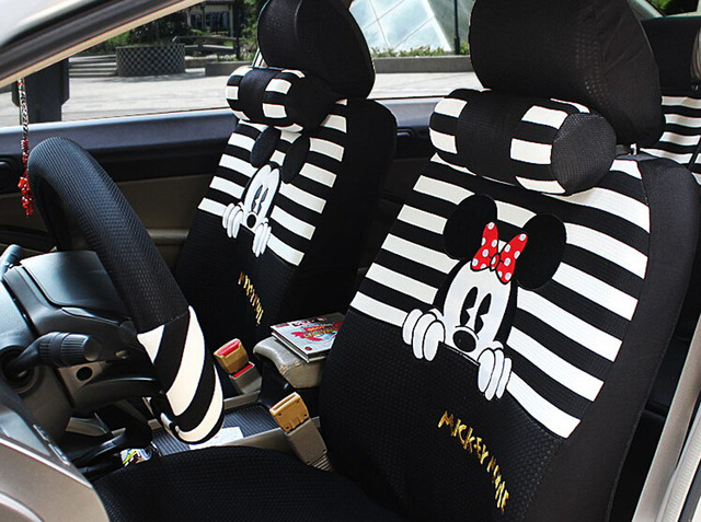 18pcs The new summer ice women love cartoon car seat cover Steering wheel  cover four seasons general seat covers 1b367e517