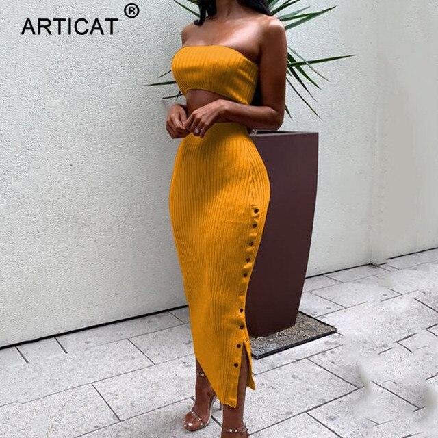 Articat White Off Shoulder Summer Dress Women 2019 Two Piece Knitted Buttons Split High Waist Party Club Bodycon Dress Vestidos