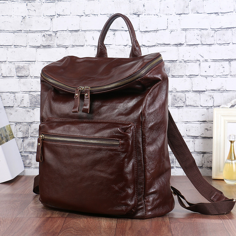 7e5d2c1d40b0 Genuine Leather Handmade Custom Fashion Backpack Ladies First Layer Cowhide  Retro Women Backpack Bag Large Capacity Trekking Bag-in Backpacks from  Luggage ...