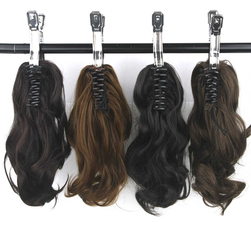 Soowee Short Wavy High Temperature Fiber Synthetic Hair Claw Ponytail Little Hair Pony Tail Clip in Hair Extension Hairpiece