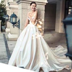 Королевское свадебное платье 2019 с Свадебные перчатки Роскошные атласные Vestido De Noiva платье со шнуровкой сзади торжественное платье