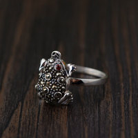 FNJ 925 Silver Frog Ring MARCASITE Red Zircon Fashion Original S925 Sterling Thai Silver Rings for Women Jewelry USA Size 5.5-8