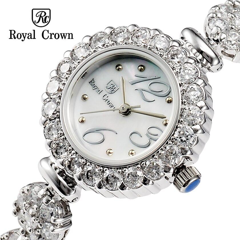 ФОТО Royal crown Ladies Wrist Watch Quartz Hours Best Fashion Dress Bracelet Brand Shell Luxury Rhinestones 18K Gold Plated 3804