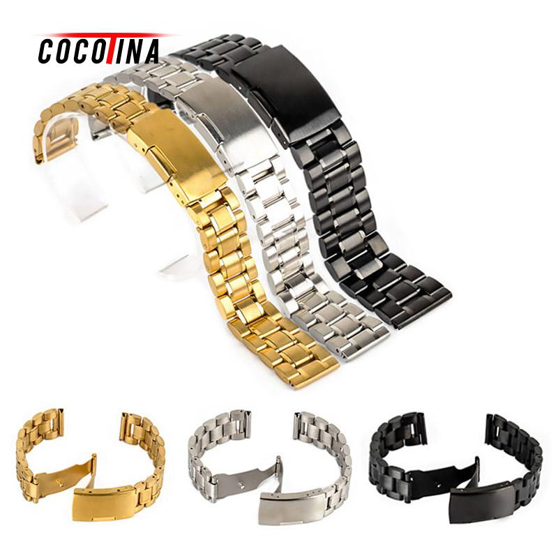 COCOTINA Black 18mm 20mm 22mm 24mm Black Stainless Steel Bracelet Strap Replacement Wrist Watch Band  LSB01173 metal stainless steel watch band wrist strap 16mm 18mm 20mm 22mm replacement butterfly clasp bracelet men women black rose gold