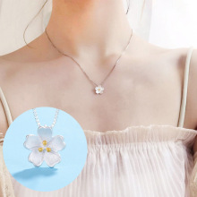 Hot Sale Simple Artistic Cherry Blossom Pendant Necklace Flower Silver Chain Color Pink Crystal Necklaces