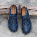 Новые Приходят женские Квартиры Натуральной Кожи Мокасины Синий, желтый, браун Круглого toe кружева повседневная обувь Размер 35-40 huarche