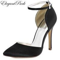 Женщина черный заостренный высокий каблук туфли-лодочки для выпускного Ремешок на щиколотке Атлас невесты подружки невесты свадебные вече...