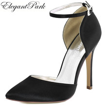 Woman Black Pointy High Heel Prom Pumps Ankle Strap Satin Bride Bridesmaids Wedding  Bridal Evening Shoes c1bef9518650