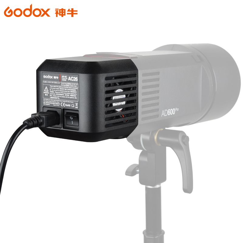 Godox AC-26 AC Power Unit Source Adapter with Cable for AD600B AD600BM AD600M AD600 godox ad600 ad ac 100 240v power source adapter with cable for ad600b ad600bm ad600m ad600 with led video light lighting lamp