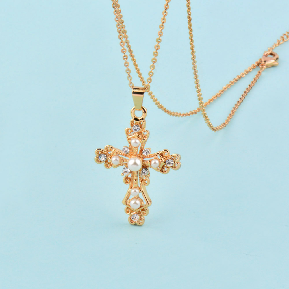 SINLEERY Vintage Baroque Style Simulert Pearl Hollow Cross Anheng - Mote smykker