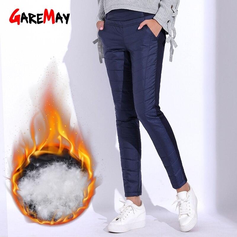 Pantalones de invierno para las mujeres de cintura elástica cintura elegante Casual pantalones de las mujeres de terciopelo cálido lápiz clásico pantalones espesar GAREMAY