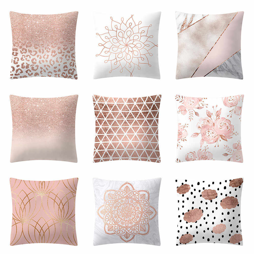 Pillowcases Cushions Linen Pillow Cases Home Retro Rose Gold Pink Square Pillowcase Home Decoratio D409