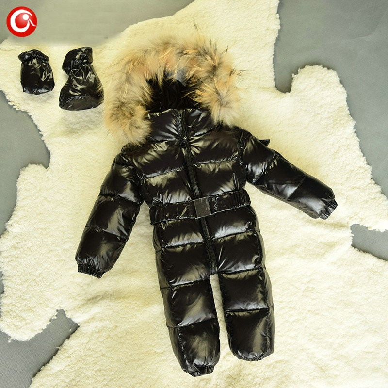 6M-4T Baby Girls White  Duck Winter Down Coat +Down Gloves Clothes Kid Boys Ski Snow Thick Hooded Warm Jacket Clothing Snowsuit (15)
