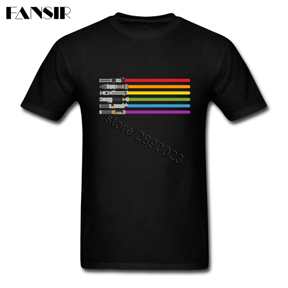 Saber Pride Lightsaber Star Wars GLBT Gay Pride Tee Shirt New Style Mens T Shirts Short Sleeve Cotton O Neck T-shirt For Male