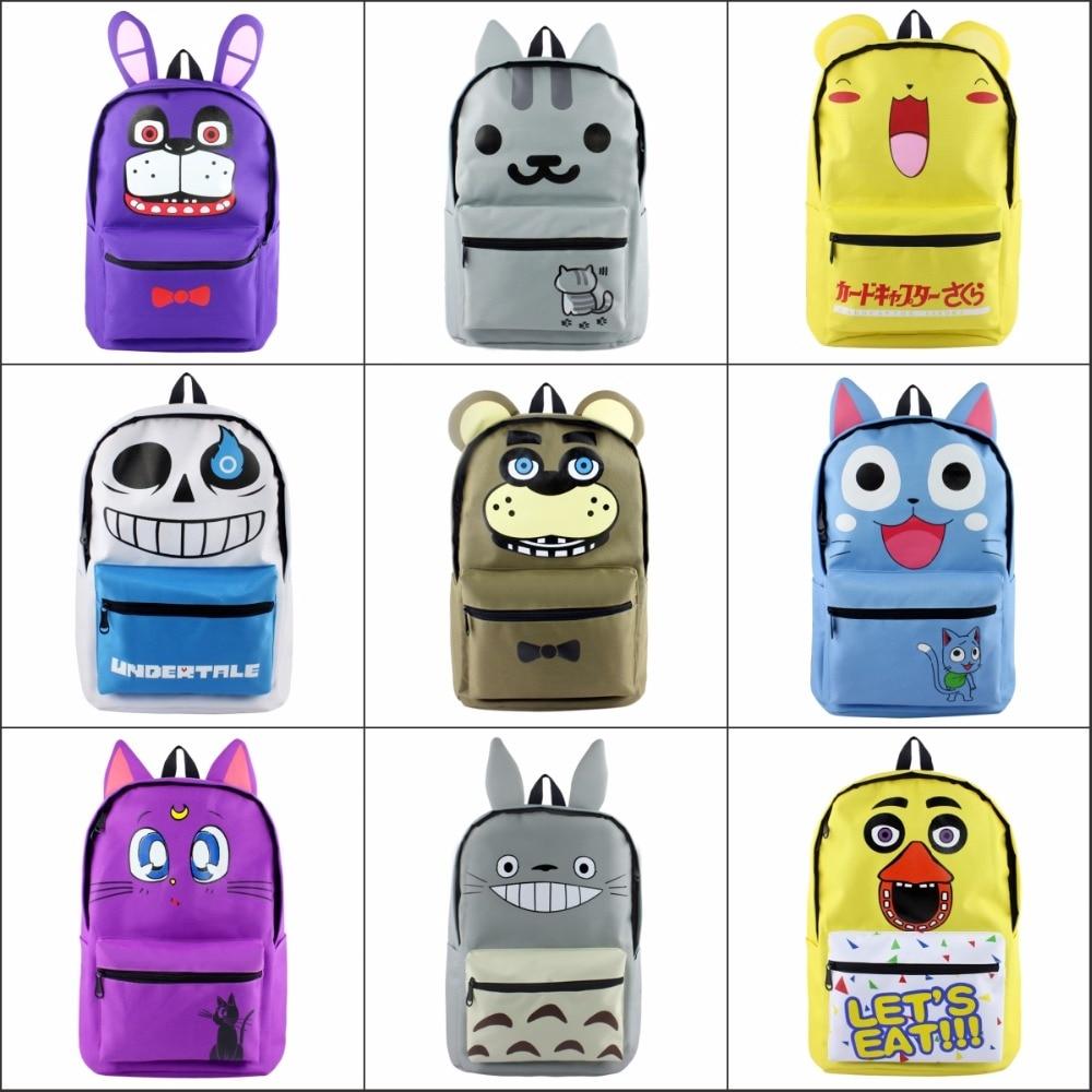 TOTORO Undertale Neko Atsume Card Captor Fairy Tail backpack Large School bag Canvas Travel Bag package Shoulder Bag 10 style