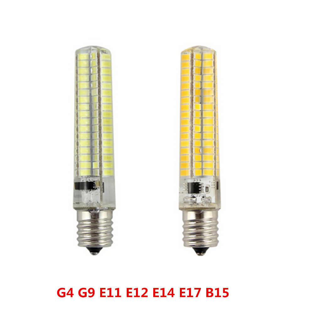 New Super bright silicone LED light Dimmable G4 G9 E11 E12 E14 E17 BA15d B15 Corn lamp 110/220V 136leds 5733 SMD Led bulb