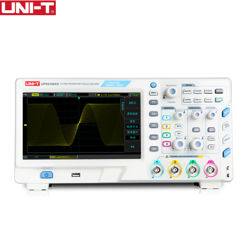 UNI-T UPO2102CS Ultra Phosphor Oscilloscopes 2CH 100MHZ Scopemeter Scope meter 7 inches widescreen LCD displays USB Interface