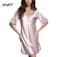 Nightgown Pijama Victoria Sexy Silk Night Dress Lace Plus Size Short Sleeve Pyjamas Women Nightwear Sleepwear