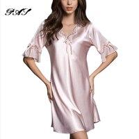 Nightgown Pijama Victoria Sexy Silk Night Dress Lace Plus Size Short Sleeve Pyjamas Women Nightwear Sleepwear