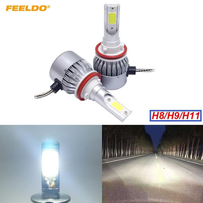 1Pair H11 Car LED Headlight H8/H9/H11 2 COB 6500K 72W 7600LM Auto LED Bulb Foglight Headlamp #2882