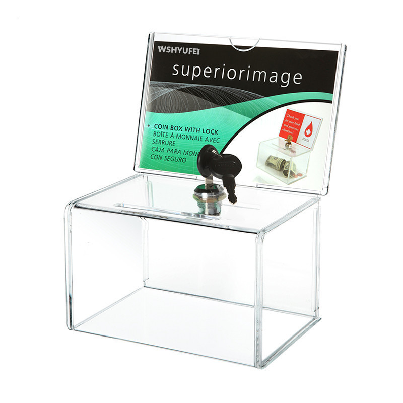 Acryl Spende Sammlung Box, Plexiglas Charity Fundraising Box mit Keylock für Kirche, nicht-profitable Gruppe, Charity