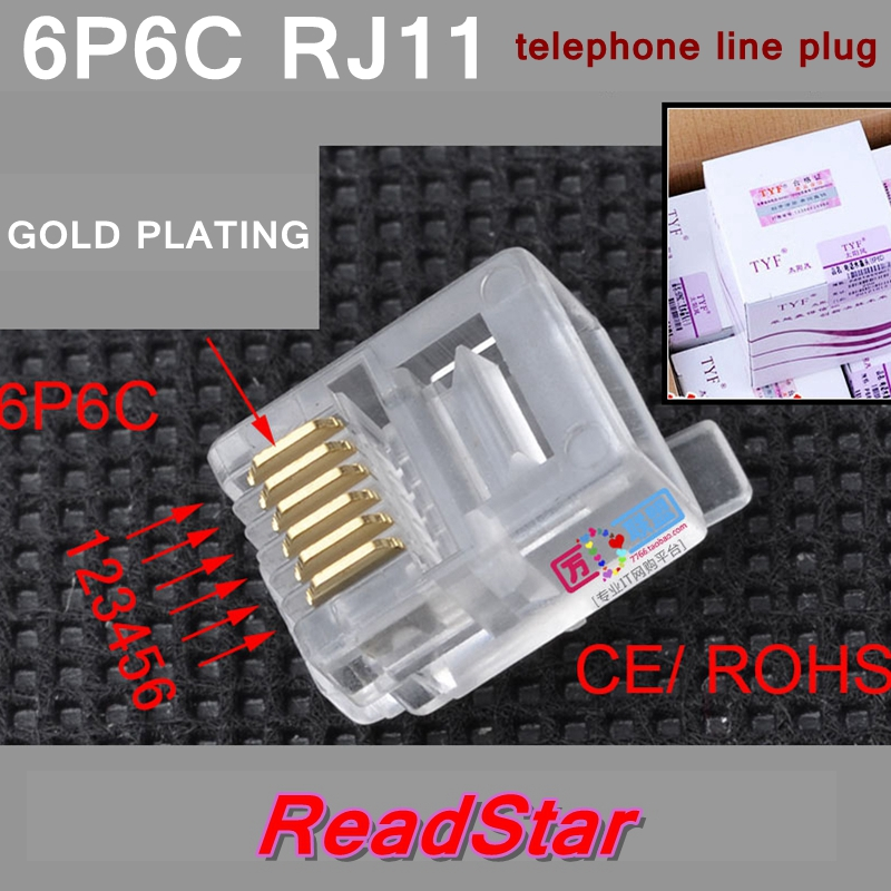 [ReadStar]200PCS/LOT TYF 6P6C RJ11 Telephone line plug 6 core Telephone cable plug Telephone cord connector adapter