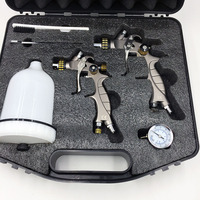 SAT1215 2K 2 in 1 HVLP spray gun set gravity feed type mini airbrush spray car face paint gun
