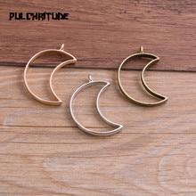 Jewelry-Accessories Blank-Pendant-Tray Moon Charm Bezel 6pcs 25--38mm Hollow-Glue Alloy