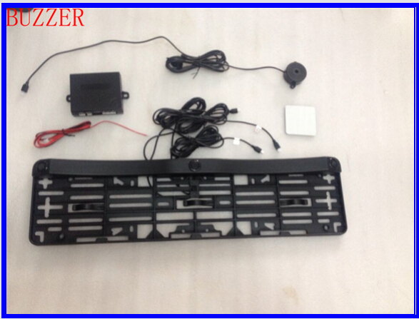 EU license plate frame parking sensor plate number parking system without drill buzzer alarm LED wireless