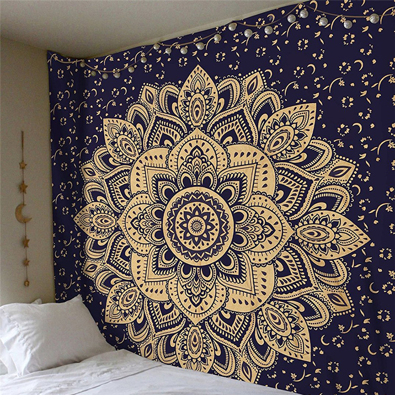 2019 Mandala Tapestry 200*150cm Square Wall Hanging Colored Printed Decorative Indian Blanket Yoga Mat Home Bedroom Art Carpet