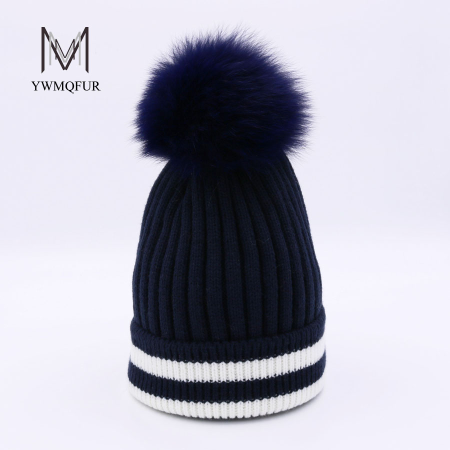 YWMQFUR Autumn winter beanies hat for women knitted wool Skullies casual cap with real fox fox fur pompom ski gorros cap H113 autumn winter skullies beanies hat unisex couple knitted wool casual cap solid colors winter warmer print casual gorros cap