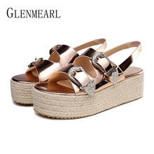 Women Sandals Summer Shoes Platform Wedges Shoes  Woman High Heels Gladiator Sandals Buckle Strap Gold Plus Size Sandalia Mujer vankaring women summer gladiator sandals real fur leather wedges high heels platform shoes woman dress party casual shoes sandal