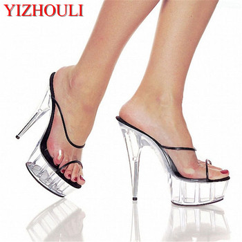 6 Inch Neon Wedges Platforms Shoes 15cm Borde Clear Night Club Fish Mouth Crystal Shoes Exotic Dancer Women Slippers Sandals