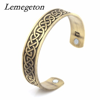 Lemegeton Pulseiras Bileklik Health Energy Resizable Lucky Knot for Men & Women Wristband Magnetic Cuff Bracelets Viking Jewelry