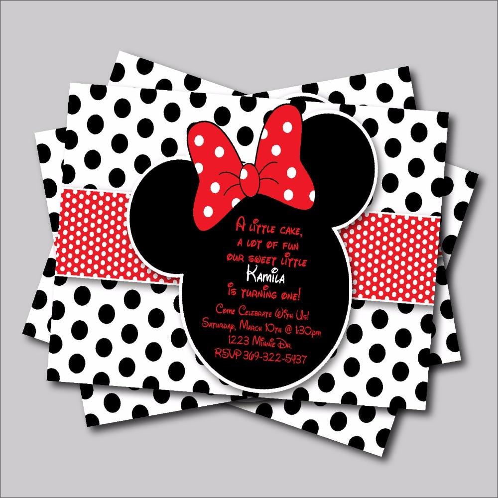 4 81 41 De Descuento 14 Unids Lote Minnie Mouse Cumpleaños Invitación Mickey Minnie Baby Shower Invitación Niños Cumpleaños Fiesta Decoración